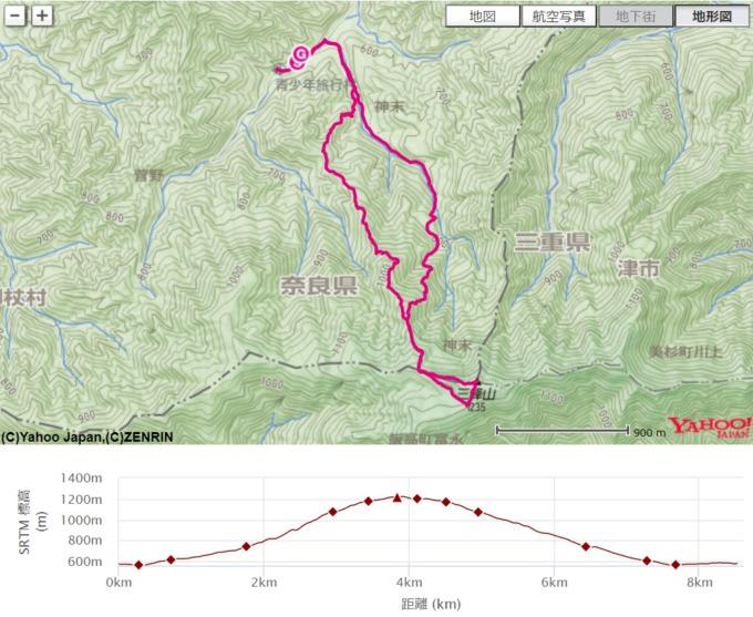 三峰山の地図