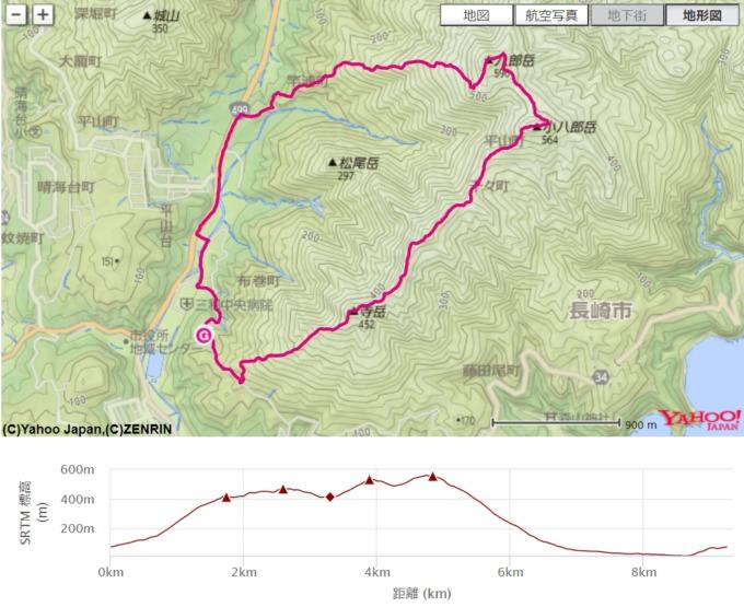 八郎岳の地図