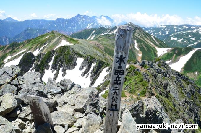 水晶岳 山頂