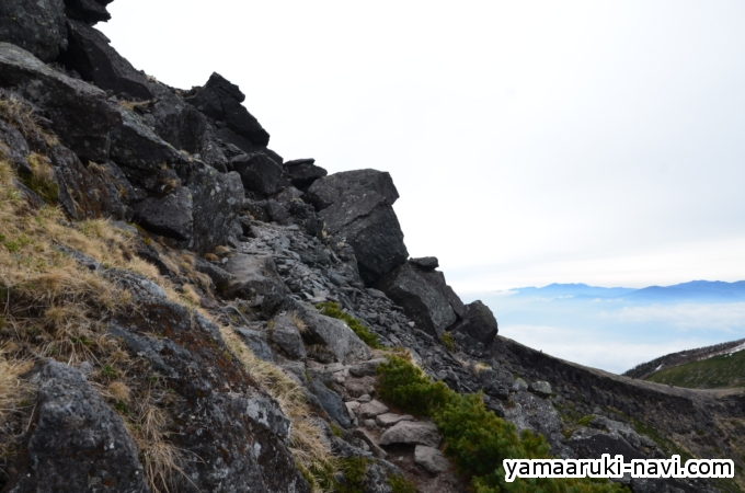 赤岩の頭から硫黄岳へ