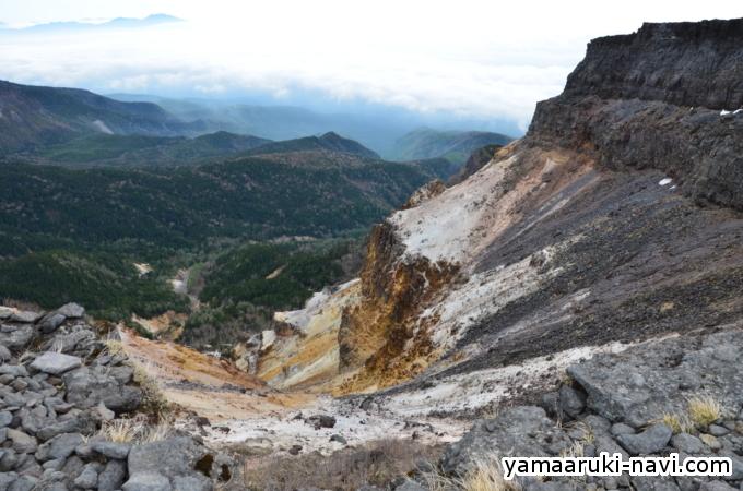 硫黄岳 爆裂火口壁