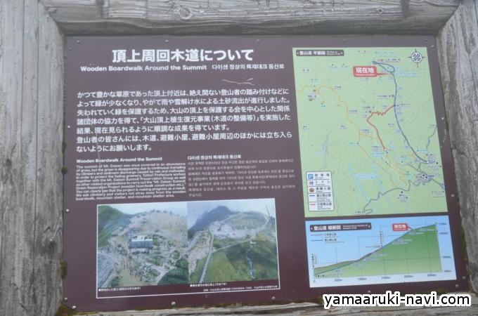 大山の山頂を保護するための頂上周回木道看板