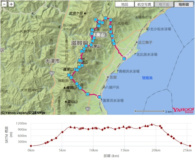 比良山 八雲ヶ原 地図 コース